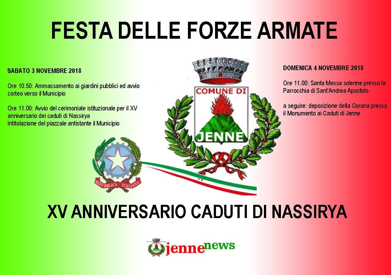 Jenne celebra i caduti di Nassirya e la festa delle Forze Armate, il programma degli eventi