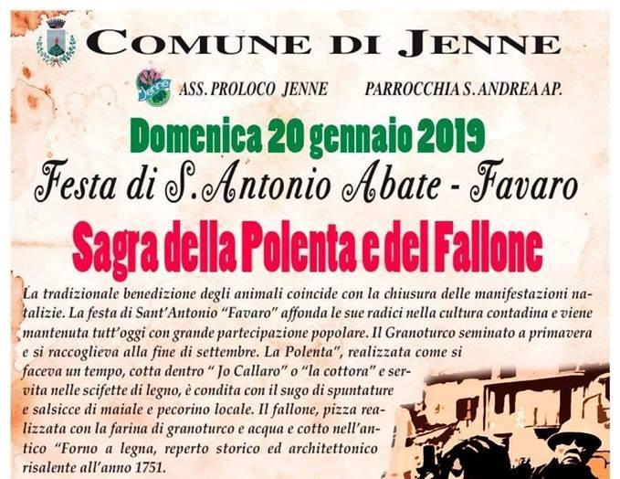 Tradizione, cultura e fede a Jenne con la Festa di Sant'Antonio Abate – Favaro