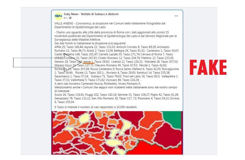 Covid a Jenne: nessun caso – Smentita ufficiale per la fake news diffusa sui social