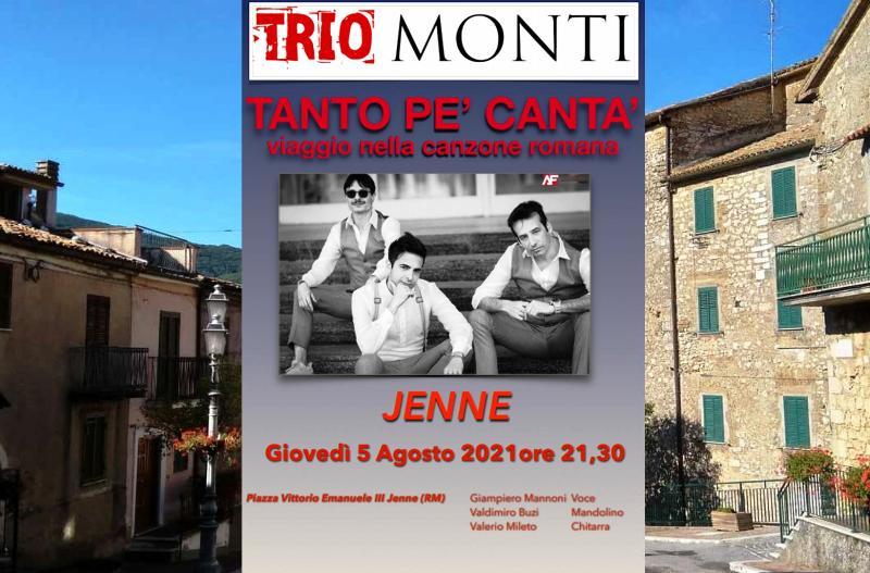 Il fascino della canzone romana a Jenne, gran serata con il Trio Monti